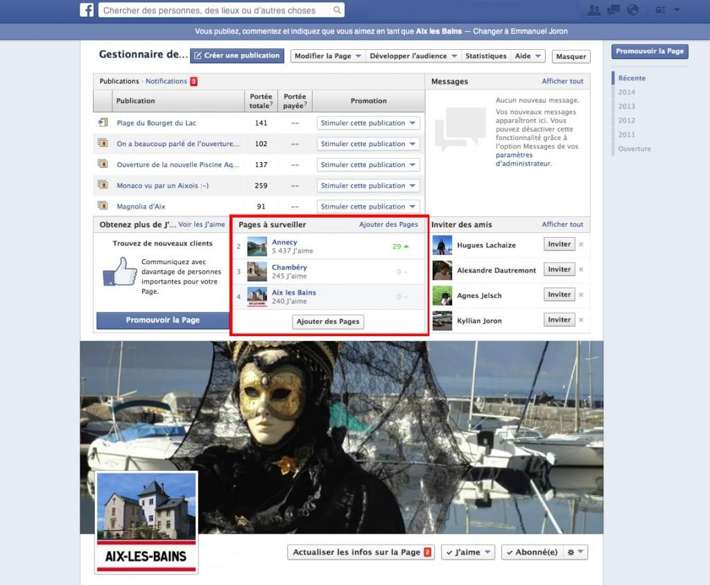 outils Facebook d'une page