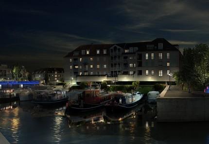 port de Cergy de nuit