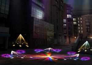 Simulation éclairage nocturne - Centre commercial Cergy