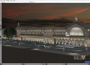 Infographie 3D Gare de l'est éclairage